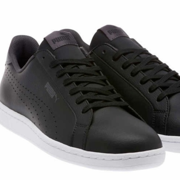 73ec92240bd1 PUMA Mens Smash Perf C Leather Sneakers Black